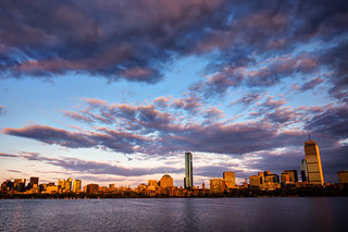 Boston from across the Charles River at sunset