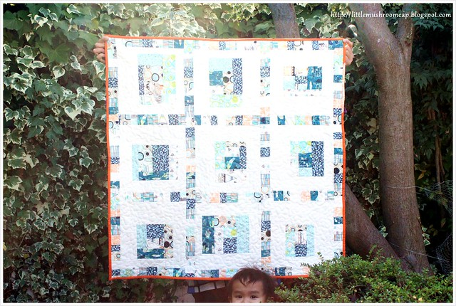 Modern Log Cabin Baby Quilt_AGF fabric