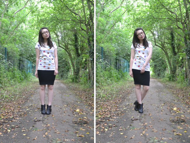 Daisybutter - UK Style and Fashion Blog: what i wore, ootd, jersey midi skirt, uniqlo x laduree