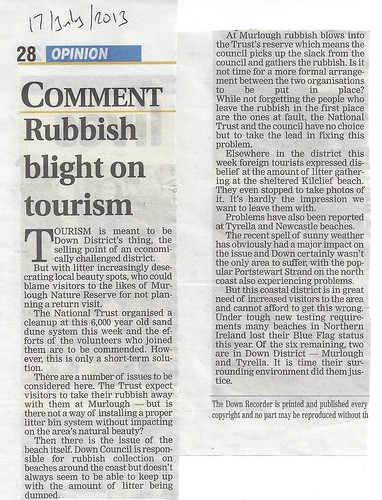 17th July Recorder editorial supports Cllr Enright's litter campaign