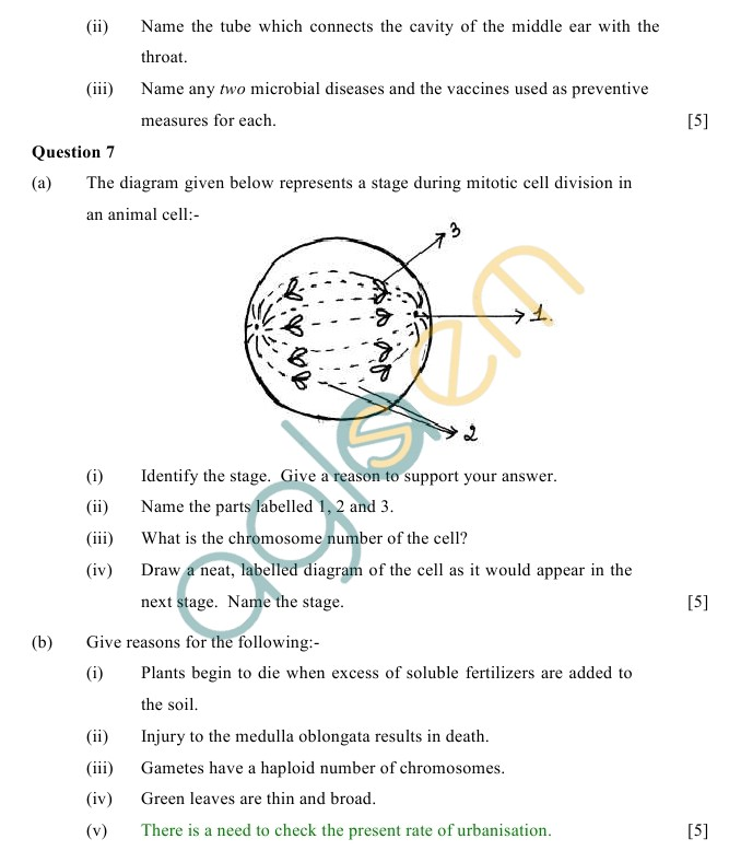 ICSE Class 10 Biology Sample Paper (Science Paper-3)