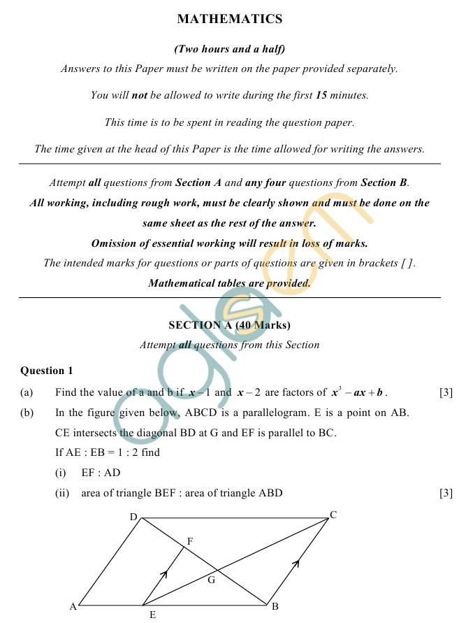 ICSE Class 10Mathematics Sample Paper