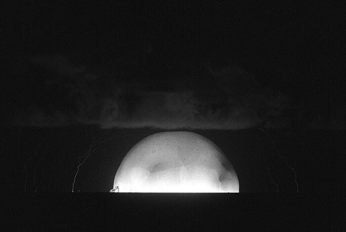 This photograph captures the expanding fireball of the world's first full-scale hydrogen bomb test, Ivy-Mike, which was conducted Oct. 31, 1952.