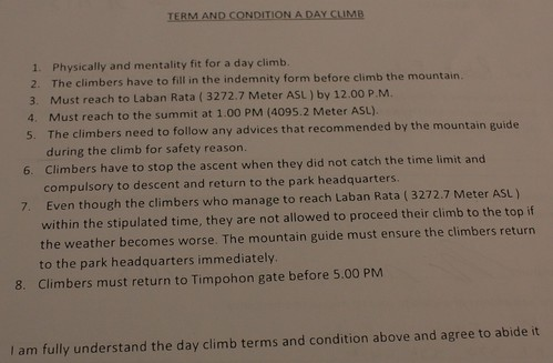 What you sign when you climb Mt. Kinabalu in one day
