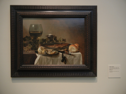 DSCN8005 _ Still Life with Herring, Wine and Bread, 1647, Pieter Claesz III (1596_1597-1660), LACMA