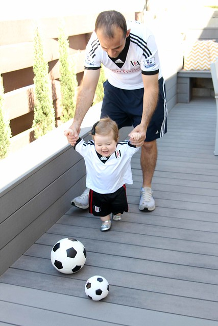 Playing soccer with Daddy