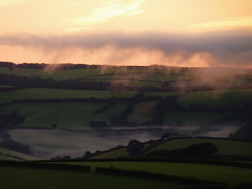 Mist arriving in the valley in Exmoor