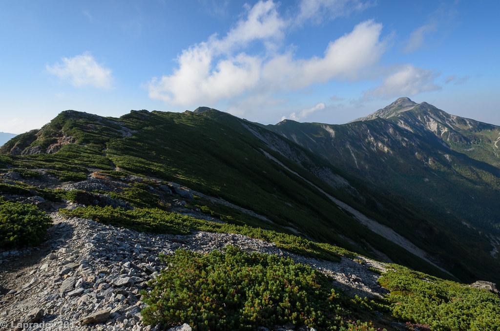 笠ヶ岳の稜線