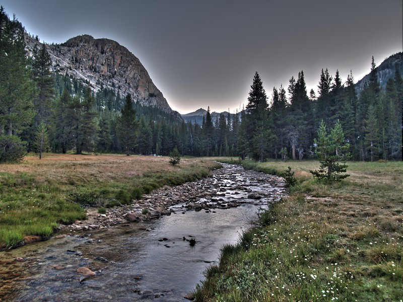 Dawn HDR shot of Matterhorn Creek as it flows through a meadow near the PCT crossing in Matterhorn Canyon