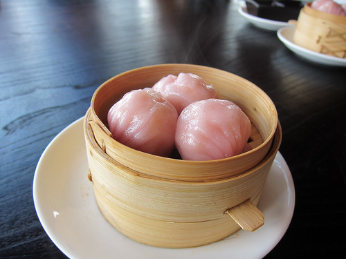 Rose champagne shrimp dumplings