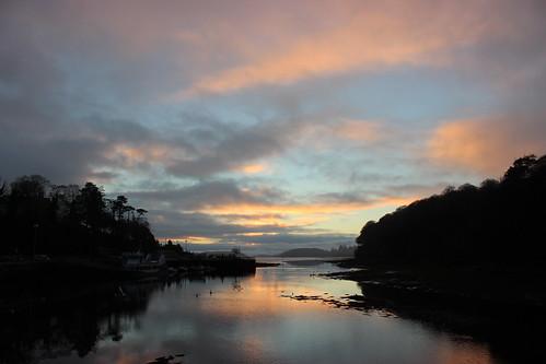 trees ireland winter sunset sky cloud colour reflection river pier estuary swans donegaltown eske wintersun donegalbay