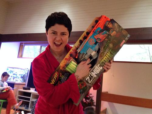 Rachel and her Zombie Strike Nerf gun