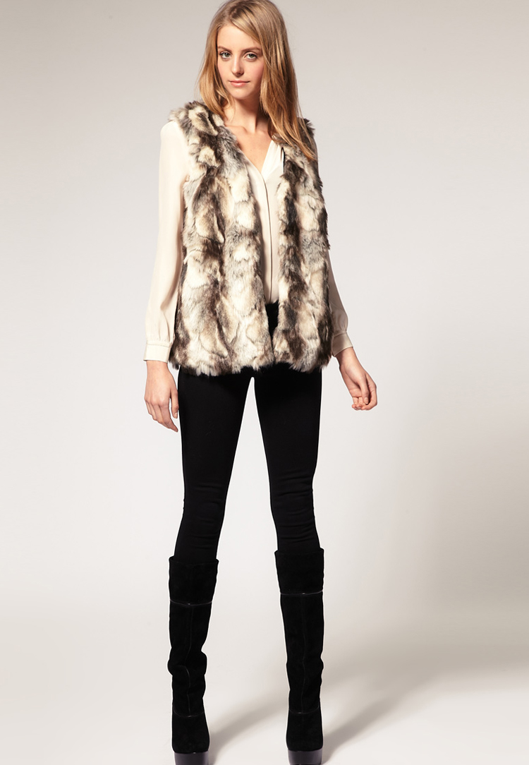 ASOS Gilet In Patched Faux Fur