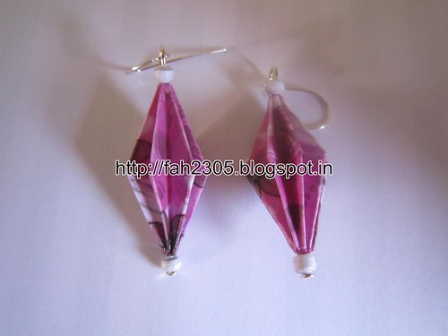 Handmade Jewelry - Origami Paper Diamond Earrings (3) by fah2305