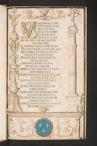 Decorated page with coat of arms in Petrarca, Francesco: Canzoniere e Trionfi