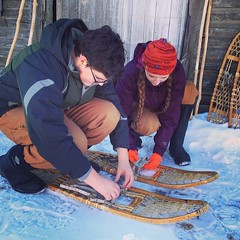 They found the old snowshoes. #unschooling #teens #maine