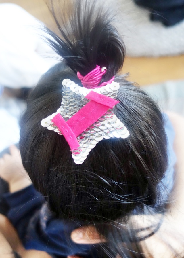 Tala's first birthday sequin hairpiece