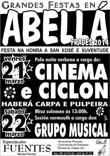 Frades 2014 - Festas da Xuventude e San Xosé en Abellá - cartel