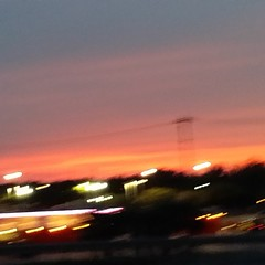 Blurry.. sorry. But it was beautiful #Texas #sunset