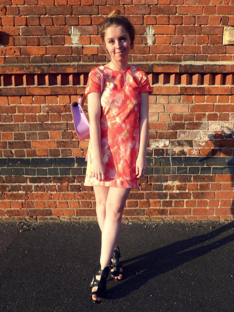 Orange shift dress   pastel purple rucksack