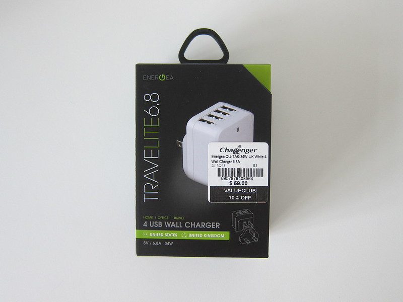 Energea Travelite 34W 5V/6.8A 4-Port Wall Charger - Box Front