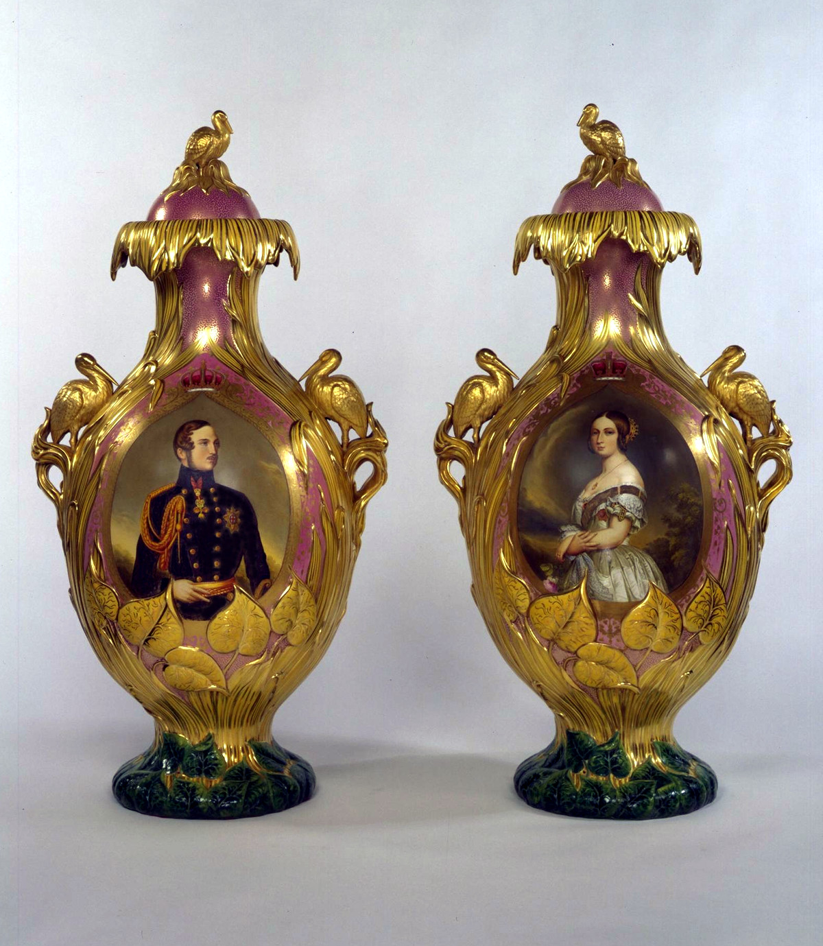 One of a pair of extravagant vases with finely painted views of the Crystal Palace on one side, and patriotic portraits of the Queen and Prince Consort on the other. © Victoria and Albert Museum, London