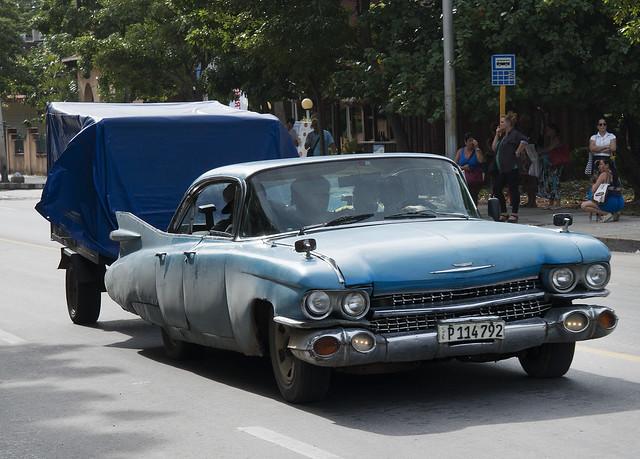 1959 Blue Cadillac Working VERY Hard. Varadero, Cuba