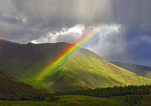 Rain Rainbow. Altai mountains, Canon IXUS 275 HS