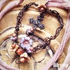 #wirependant #wirewrapped #gothiccross #rustywire #heart #faith #czechglassflowers #lilrubyjewelry #artisanjewelry #silkribbon #pastelcolors