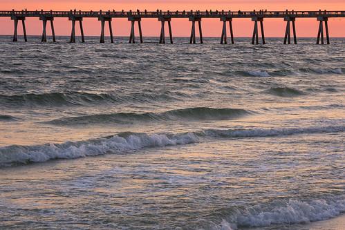 pensacolafl pensacola sunset pier red orange atlanticocean ocean water beach pensacolabeach olympus olympusomd em1markii 12100mmf4zuiko zd micro43