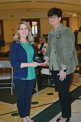 Brenda Dawes, representing Oklahoma ABLE Tech, accepted the 2016 DRS Access for All Partner of the Year Award on behalf of the agency from DRS Interim Director Noel Tyler during the People with Disabilities Awareness Day attended by nearly 800 people at the state capitol.
