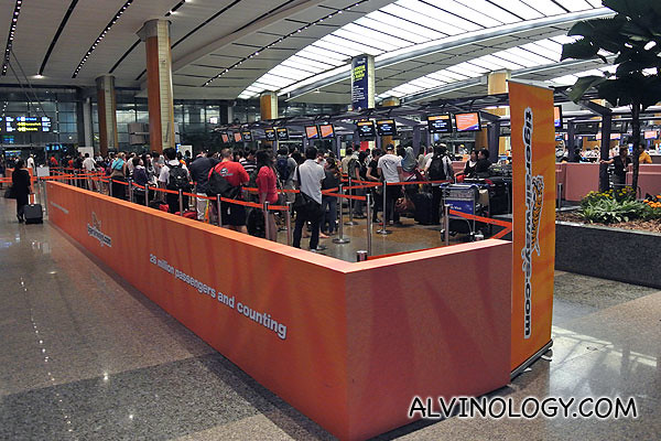 Tiger Airways check-in area at Changi Airport T2