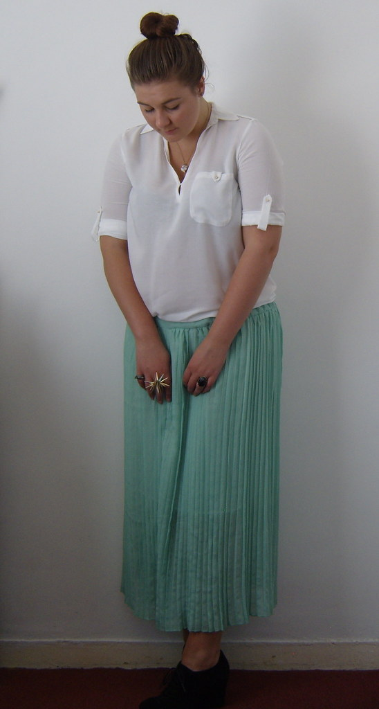 Mint Pleated Maxi Skirt & White Shirt 3