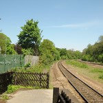 Dore & Totley Station - the slatted fencing replicates the original Midland Railway style but uses thinner wood slats.