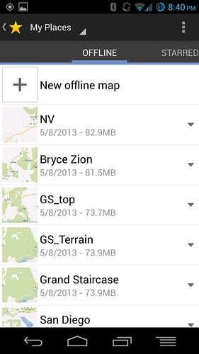offline maps list