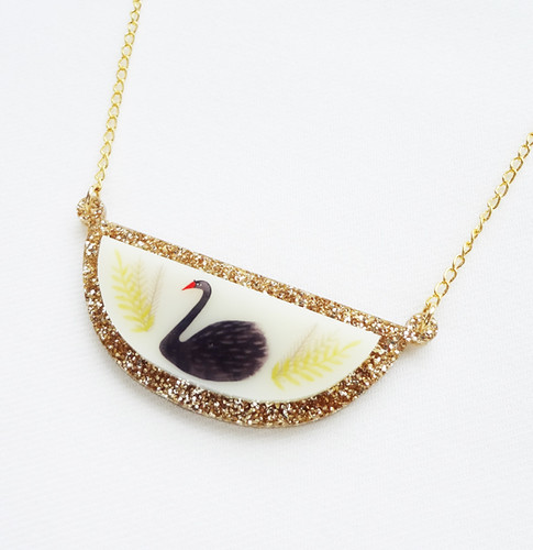 Gold Glitter Swan Necklace