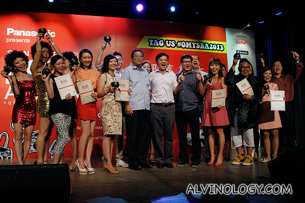 The ten winners for the main award categories together with the VIPs on stage