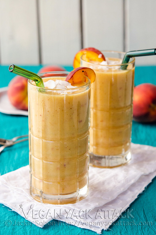 A refreshing Grilled Peach Lassi with grilled fruits and creamy coconut yogurt. Simple, delicious, and dairy-free! Vegan, Nut-free