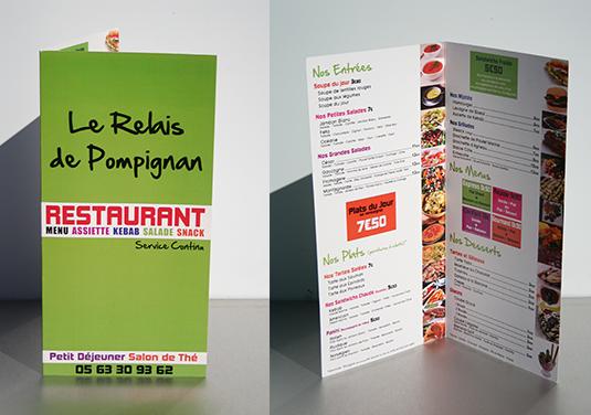 Création et façonnage des menus du restaurant Le Relai de Pompignan (82).