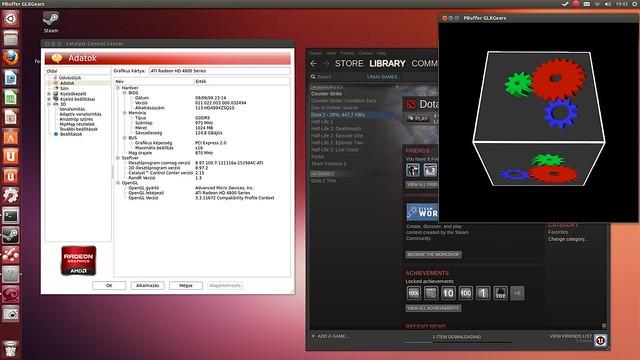 Radeon irányítópult, glxgears Steam