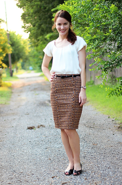 patterned-pencil-skirt-silk-blouse-1
