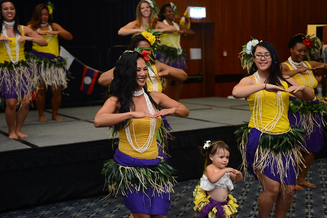 Polynesian dancers entertain the crowd