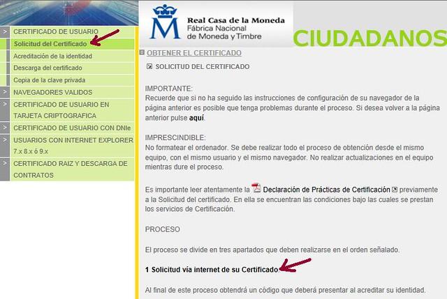 Paso 1 solicitud del certificado