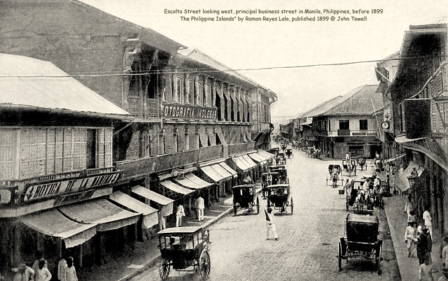Along Escolta; principal business street in New Manila, Philippines, before 1899