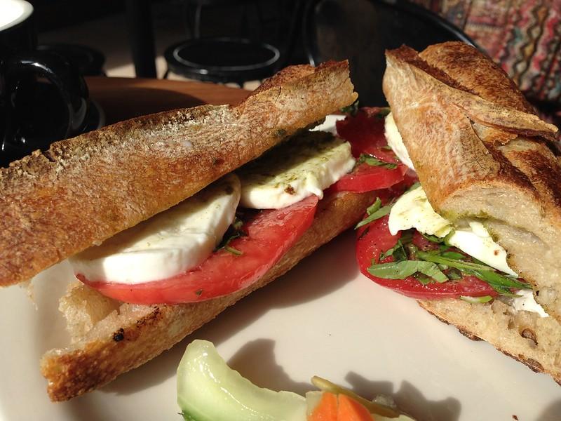 mozzarella, tomato &  basil on tradi baguette