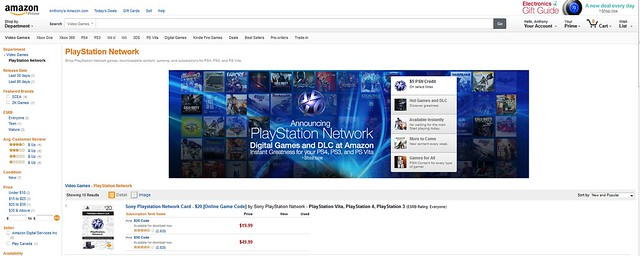 PSN Content on Amazon