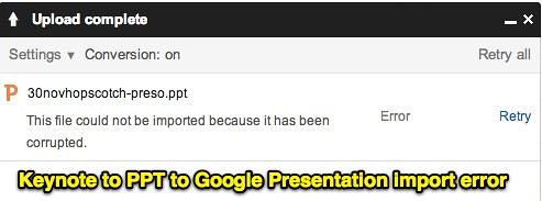 Keynote to PPT to Google Presentation import error