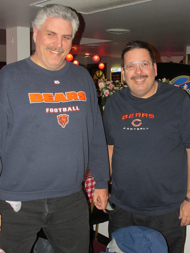The two Eds at Danny's Pizza Place wearing their Chicago Bears T shirts.  Chicago Illinois.  Tuesday, November 26th, 2013. by Eddie from Chicago