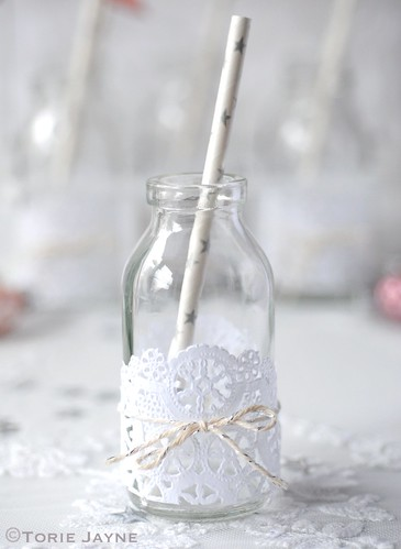 Decorated mini milk bottle