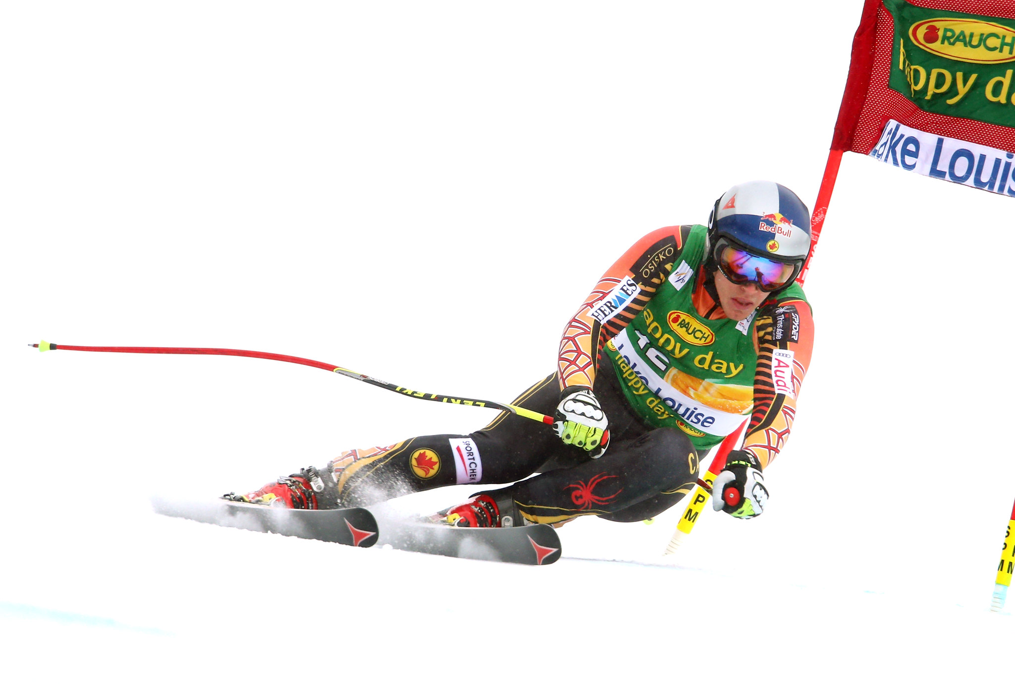 Erik Guay charges in the super-G at the FIS Alpine World Cup in Lake Louise, CAN